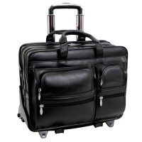 "Clinton 17"" Leather Patented Detachable Wheeled Laptop Briefcase"