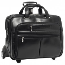 "Ohare 17"" Leather Fly-Through Checkpoint-Friendly Detachable Wheeled Laptop Case"